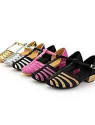"Kids' Modern Satin Sandals Buckle Low Heel Black and Sliver Black and Gold Silver Gold Fuchsia 1"" - 1 3/4"""