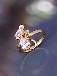Women's Fashion Cute Mouse Shape Design 18K Gold Zircon Ring