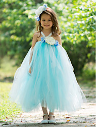 A-line Ankle-length Flower Girl Dress - Rayon Spaghetti Straps with Flower(s)
