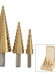 CMT 9243 3-in-1 Titanium Plated HSS Steel Triangle Shank Step Down Drill Bits Set
