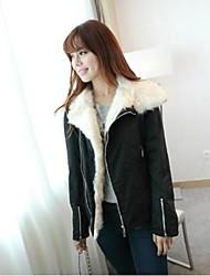 Women's Large Lapel Fur Collar Motorcycle Coat
