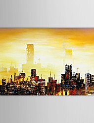 Hand Painted Oil Painting Landscape Abstract City Buildings with Stretched Frame