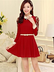 Women's Casual Solid Skater Dress , Shirt Collar Knee-length Polyester