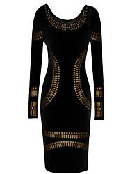 Мол женщин старинных Bodycon длинным рукавом платье