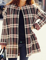 Women's Korean Style Fashion Plaid Long Loose Knitted Outwear