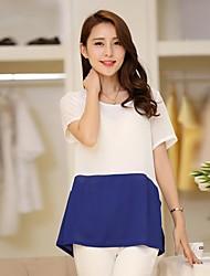 Women'S Patchwork Loose Chiffon T Shirt