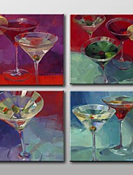Hand Painted Wine Cup Still Life Oil Painting with Stretched Frame Set of 4