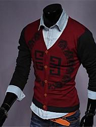 Men's Print Cardigan , Cotton Blend Long Sleeve