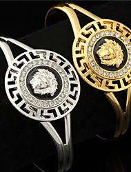 U7 Women's Vintage Lion Head Beautiful Medusa Rhinestone Cuff Bangle Bracelet 18K Gold Plated