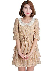 OYAJI® Women's 1/2 Sleeve Vintage Floral Spended Chiffon Dress