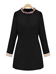 vestido delgado de la manga 3/4 de diamante Lirong (negro)