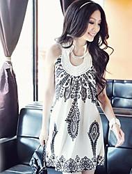 Women's White/Black  Halter Floral Print Beaded Sleeveless Mini Dress