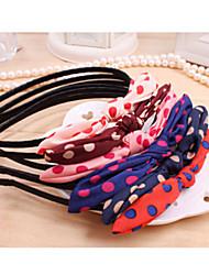 Cute Korean Leopard Gauze Bow Wave Point Rabbit Ears Hair Bands / Headband Random Delivery