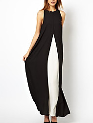 Women's Contrast Color Stitching Split Chiffon Maxi Dress