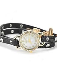 Women's Fashion Leather Strap Quartz Movement Disc Table Watch