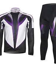 XINTOWN Men's Contracted Quick Dry Moisture Absorption Long Sleeve Cycling Suit—Purple+White