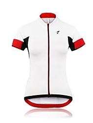cor das mulheres puros verão de manga curta de poliéster respirável camisa de ciclismo - vermelho + branco