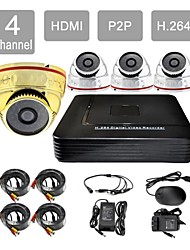 hdmi p2p 4 canaux 8605cc04v de système de caméra de sécurité kit h.264 dvr 4x420tvl ir dôme CCTV / 1g3s