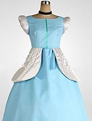 elegante cielo azul cenicienta poliéster traje de cosplay