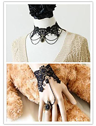 Vampire Girl Black Lace Gothic Lolita Accessories Set(Bracelet/Necklace)