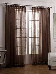 Two Panels Neoclassical Solid Coffee Bedroom Polyester Sheer Curtains Shades