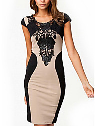 GGN Women's Lace Sexy Round Neck Short Sleeve Bodycon Dress