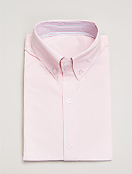 Pink Cotton Tailored Fit Short Sleeve Shirt