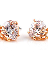 S&V Brass With Cubic Zirconia Stud Earrings