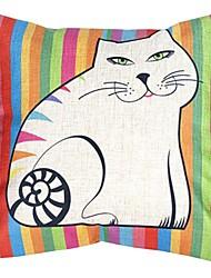 """createforlife® 18 """"coussin décoratif carré gras rétro bande dessinée bandes chat arc-en lin coton"""
