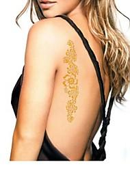2Pcs Flower Gold Glitter Tattoo Stickers Temporary Tattoos