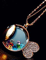 moda myjk high end peixinho dos desenhos animados em forma de longa strass colar de cristal