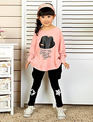 Girl's Lovely Pattern Bat Wing Open Sleeve T-Shirt Tops