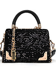 New Porting Women's Leopard Print Sequin Pu Leather Tote 30*25*10Cm