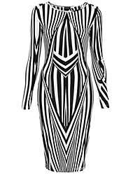 Women's Black White Stripe Long Slevee Bodycon Dresses