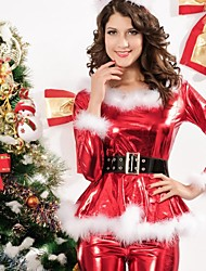 elonbo® sexy girl manga longa gola redonda poliéster vermelho traje das mulheres natal