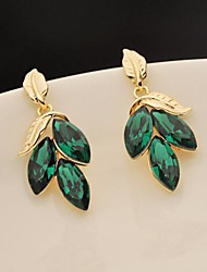 Super Flash feuille verte boucles d'oreilles