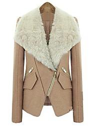 SANFENZISE Women's Tailor Fur Collar Wool Coat