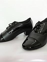 Non Customizable Men's Dance Shoes Modern Leatherette Chunky Heel Black