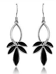 Fashion (Leaves Drop) Silver Platinum-Plated Drop Earrings (Black)(1Pair)