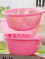 Double Design Plastic Drain Colander and Bailer(Assorted Color)