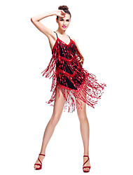 Latin Dance Dresses Women's Training Spandex / Sequined Sequins / Tassel(s) Sleeveless Natural