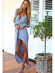 Coco Cute Women's Sexy V Neck Ruffle Long Sleeve Slim Maxi Dress