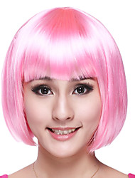 Sweet Girl Bob Cut Pink Synthetic Fiber Women's Halloween Party Wig