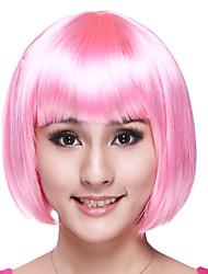 bob chica dulce cortado rosa fibra sintética de halloween fiesta de la peluca de las mujeres