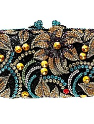 Women's Flower Design Rhinestone Evening Party Clutch