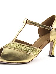Customizable Women's Dance Shoes Latin Leatherette Customized Heel Gold