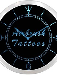 Airbrush Tattoos Shop Display Neon Sign LED Wall Clock