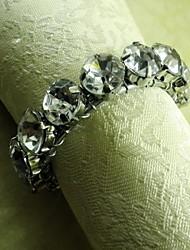 couleurs rondes sur la chaîne de cristal rond de serviette, beades acryliques, 4,5 cm, lot de 12