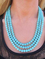 Women's Fashion Three Rows of Turquoise Beads Necklace