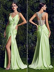 ts costura prom / vestido de noite formal - sábio mais tamanhos bainha / coluna de varredura da v-garganta / escova de trem de cetim chiffon